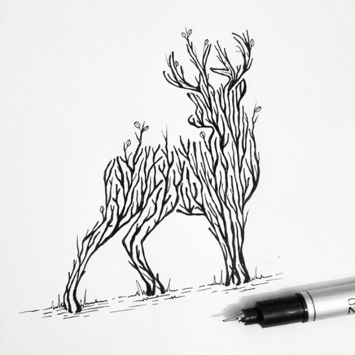 721x721 Wilderness Scenes Illustrated Within Striking Animal Silhouettes