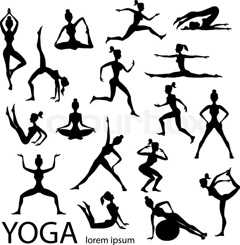 783x800 Yoga Poses Silhouettes Vector Body Pose Female Art Black Stock