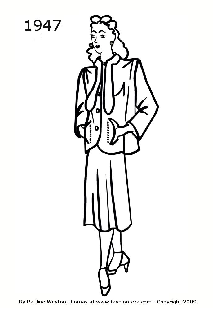 700x1000 Costume History Silhouettes 1940s Free Line Drawings