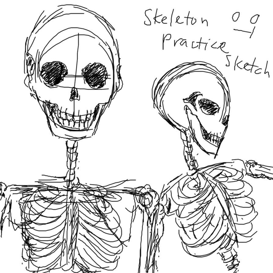 894x894 Skeleton Practice Sketch 1 By Mimidan
