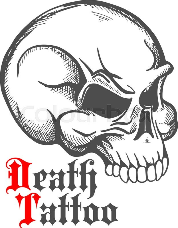 624x800 Decorative Vintage Sketch Of Human Skull For Tattoo Or Death