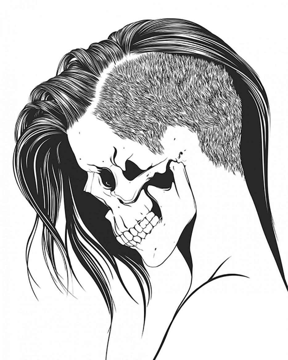 934x1168 Drawn Sleleton Skull