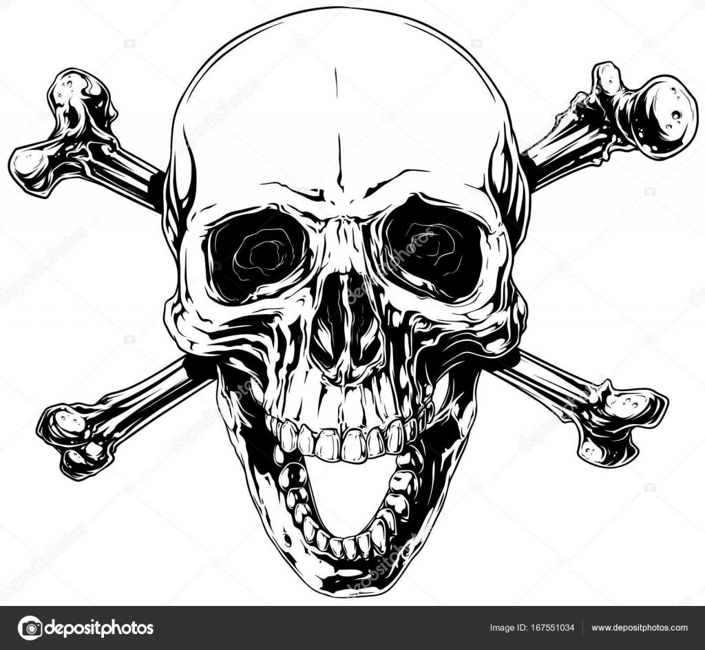 1024x944 Graphic Human Skull With Crossed Bones Stock Vector Gb Art