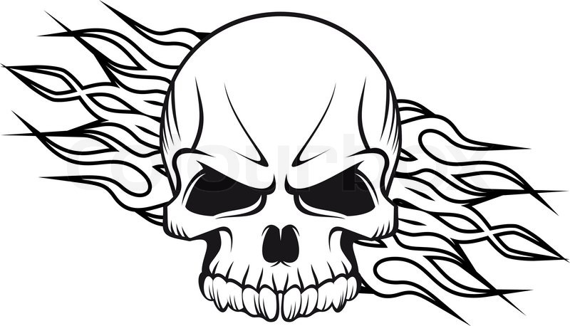 800x458 Human Skull With Flames Stock Vector Colourbox
