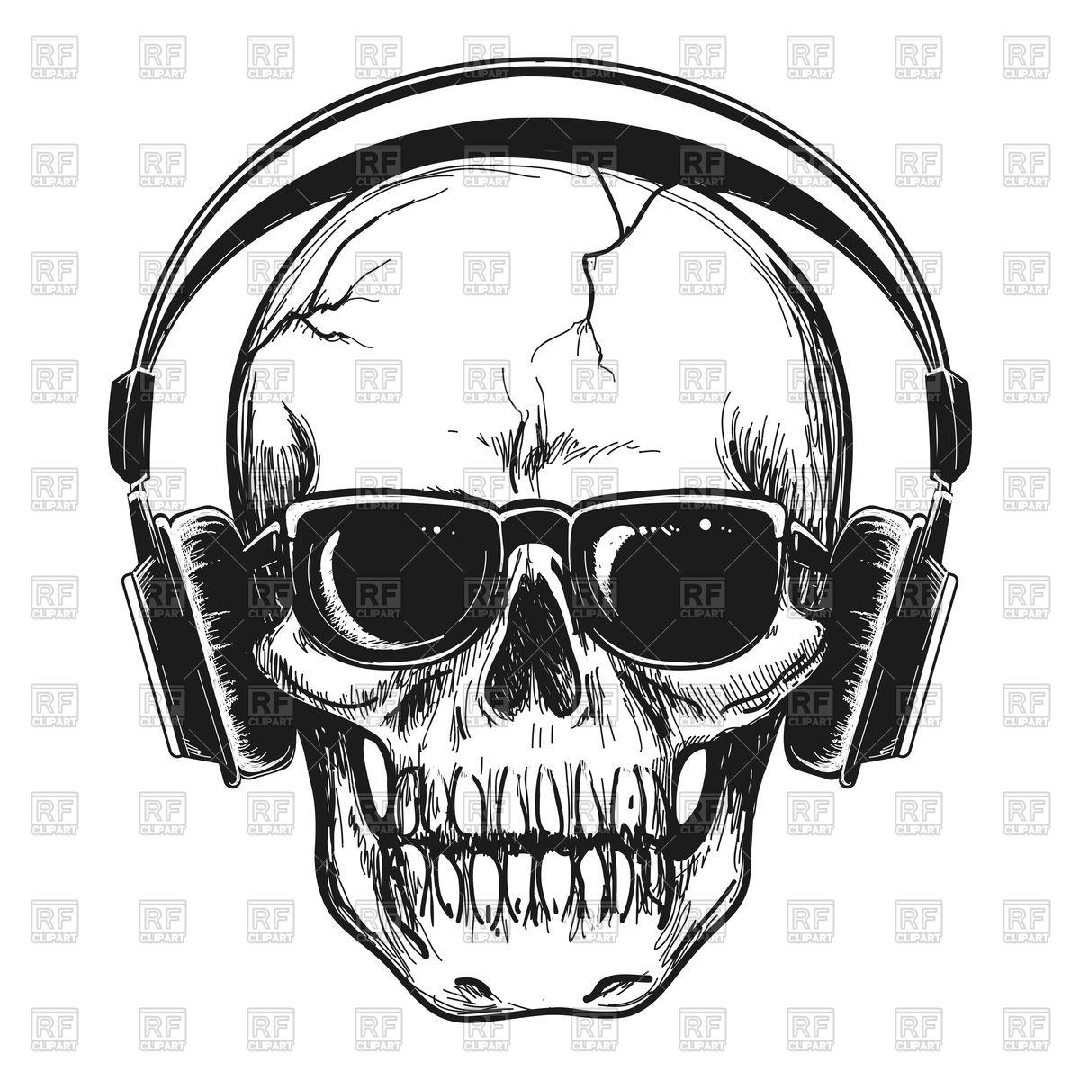 1200x1200 Human Skull With Headphones And Sunglasses Enjoying Music Royalty