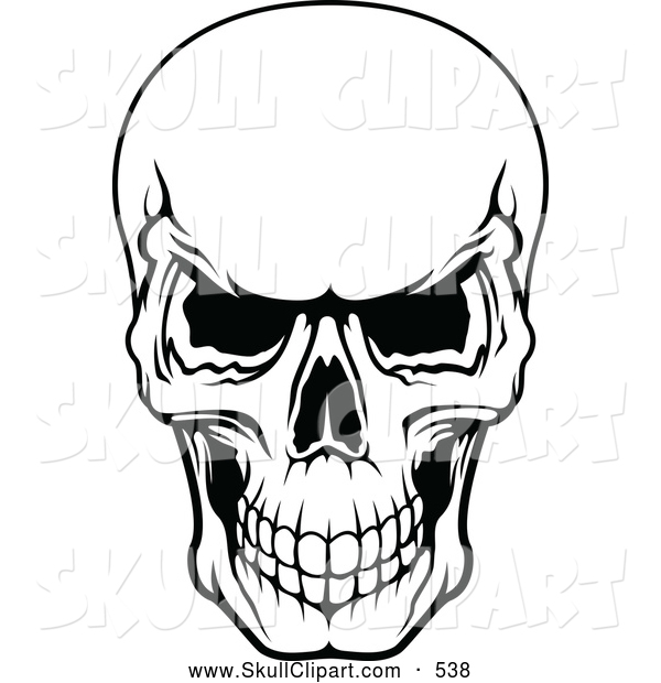 600x620 Vector Clip Art Of A Frightening Black And White Evil Human Skull
