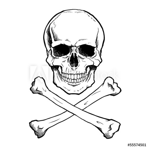 500x500 Black And White Human Skull And Crossbones.