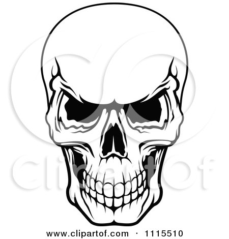 450x470 Clipart Black And White Evil Human Skull Grinning