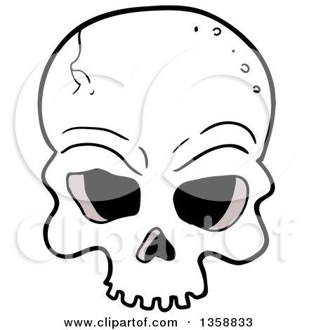 450x470 Clipart Of A Cartoon Cracked Human Skull
