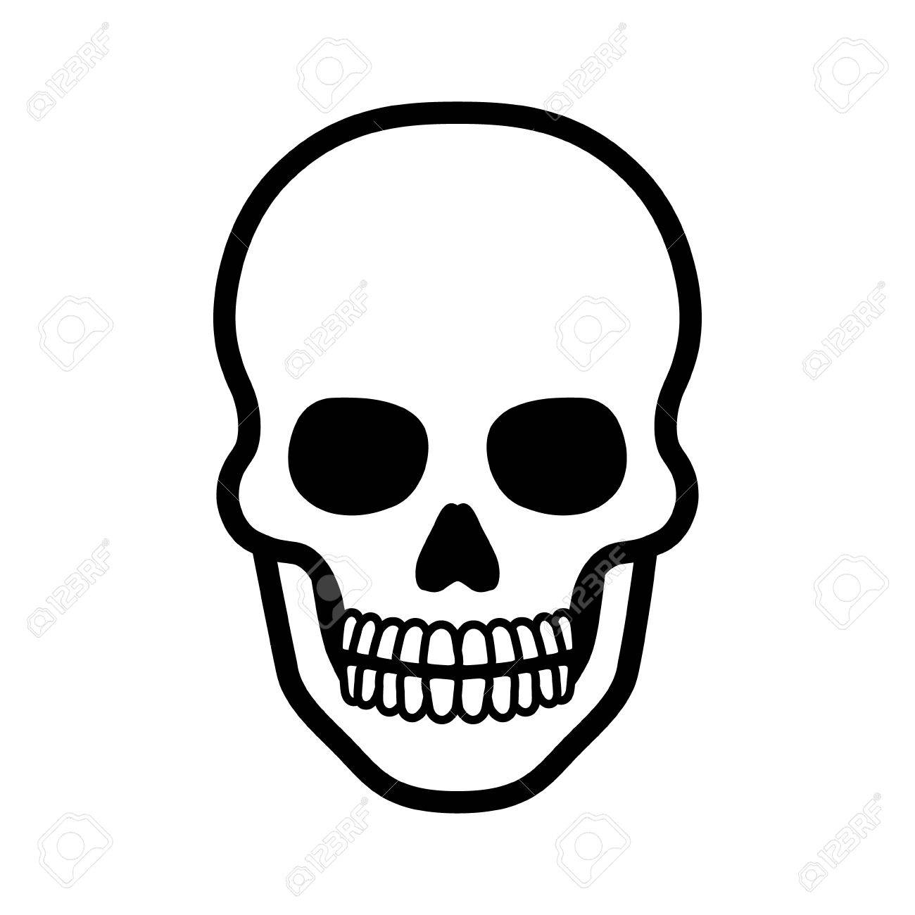 1300x1300 Death Skull Or Human Skull Line Art Icon For Games And Websites