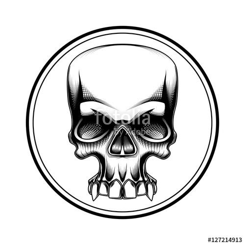 500x500 Human Skull Halloween Horror Death Symbol Tattoo Stock Image
