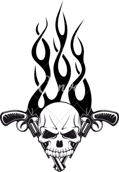 382x550 Human Skull With Gun