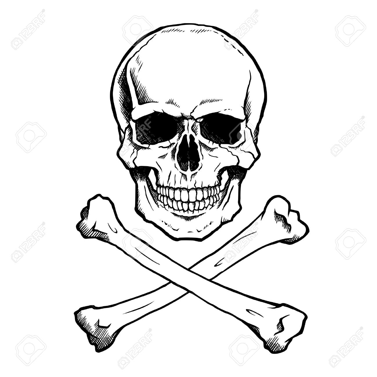 1300x1300 Black And White Human Skull And Crossbones. Royalty Free Cliparts