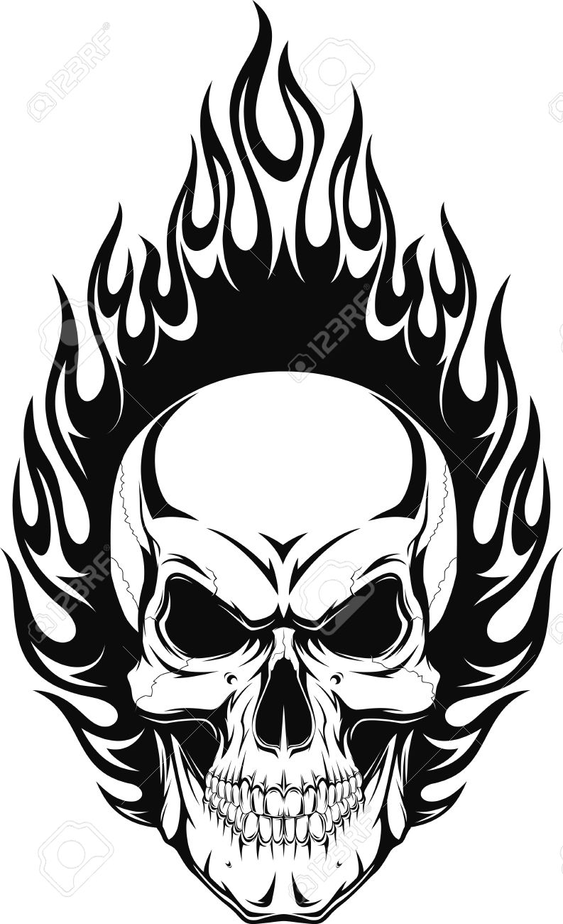 793x1300 Vector Illustration Of A Human Skull With Flames Royalty Free