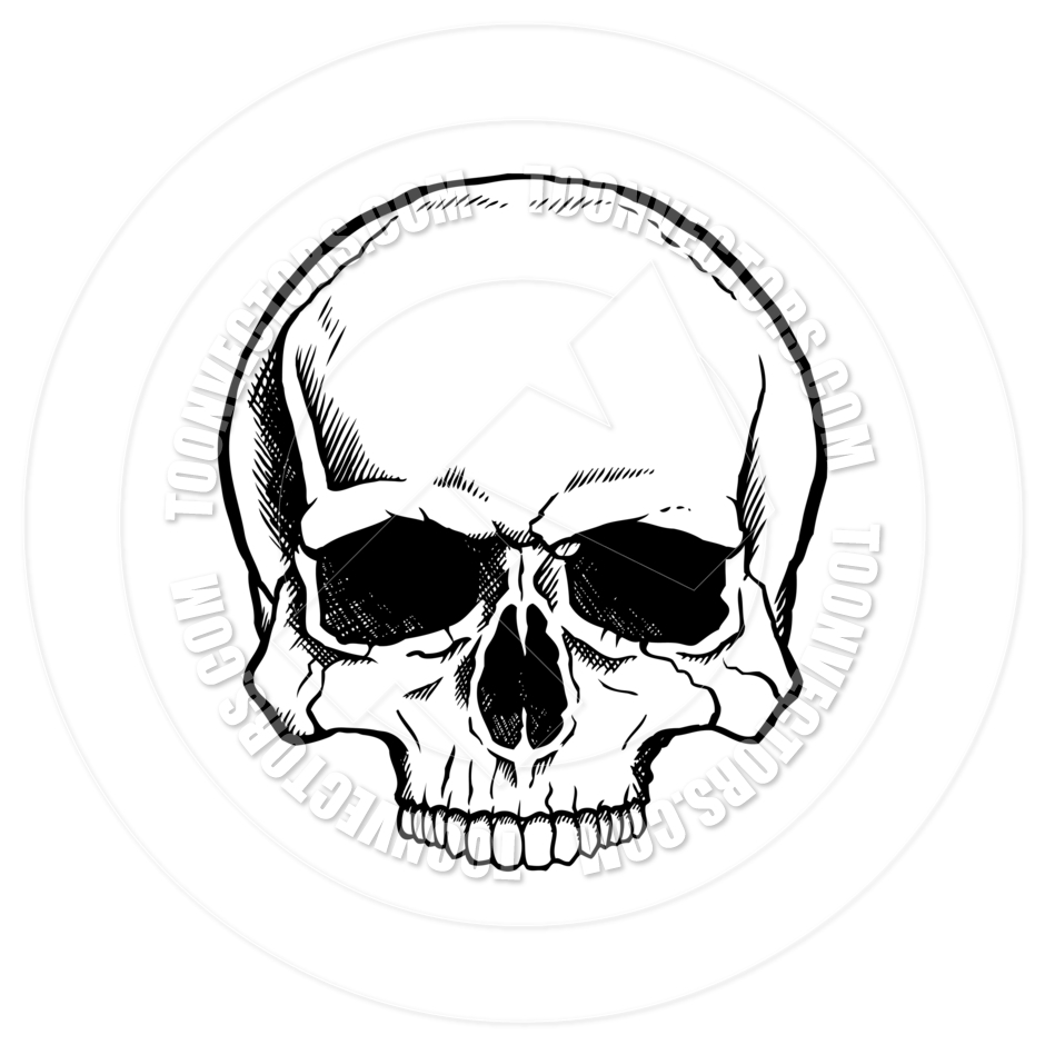 940x940 Black And White Human Skull By Colin Cramm Illustration