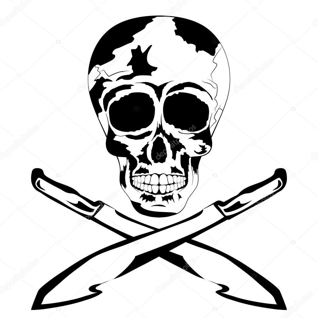 1024x1024 Black And White Human Skull With Machete. Tattoo Skull Stock