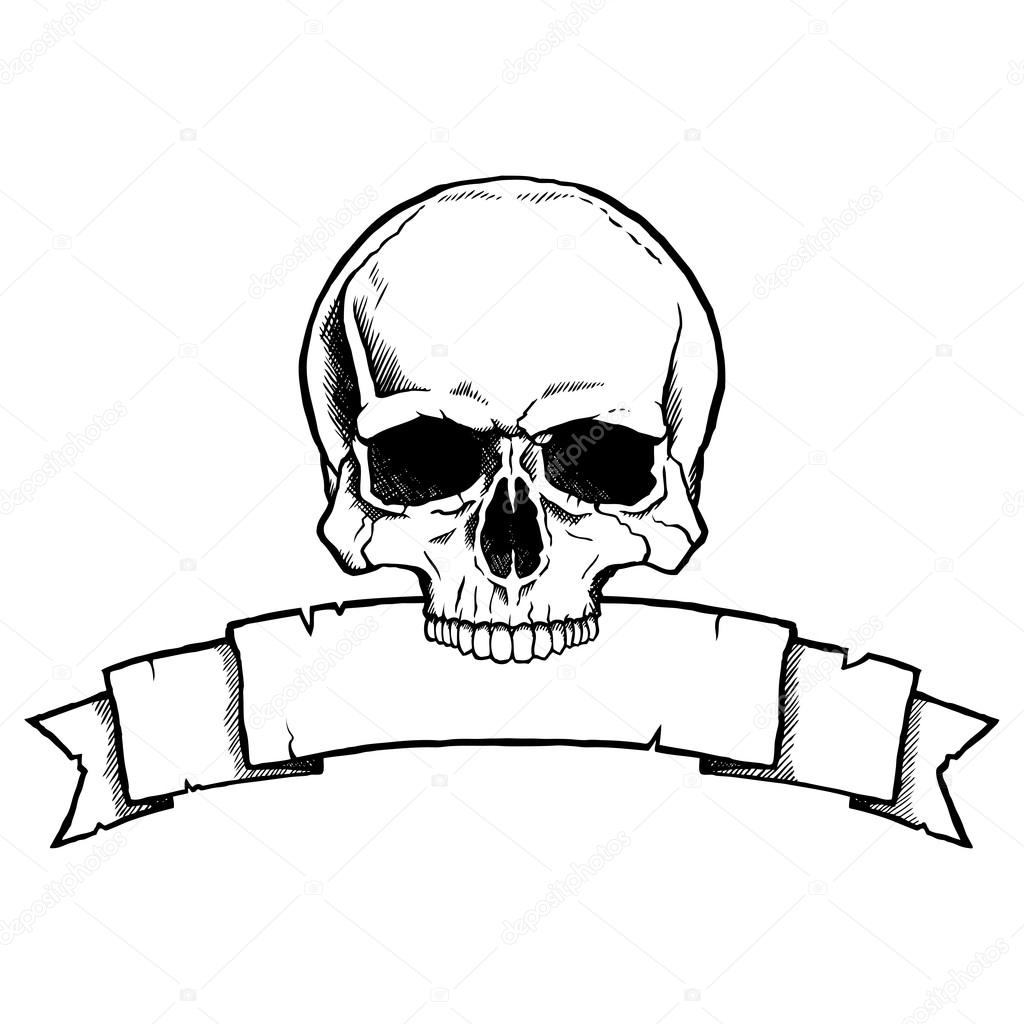 1024x1024 Black And White Human Skull With Ribbon Banner Stock Vector
