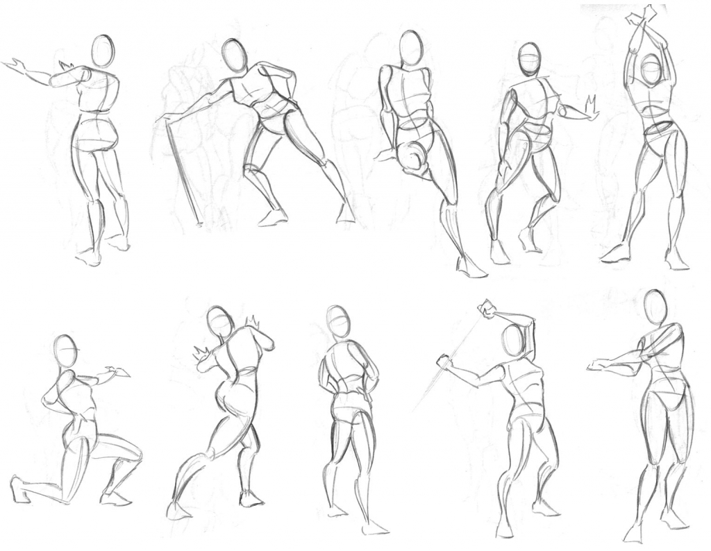 1024x794 Drawing Figures In Action Simplified Human Figure Drawing Kicking