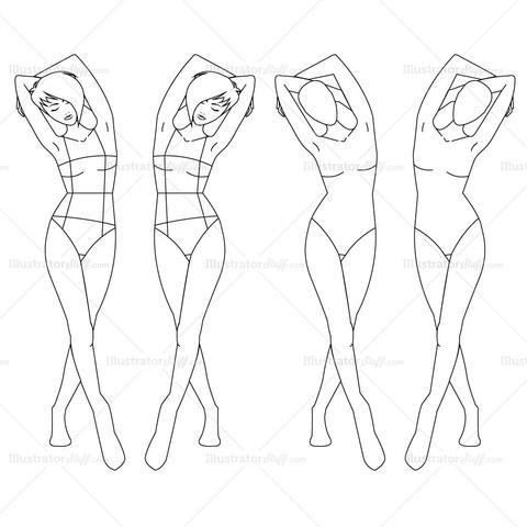 480x480 Female Fashion Croquis Template Illustrator Stuff