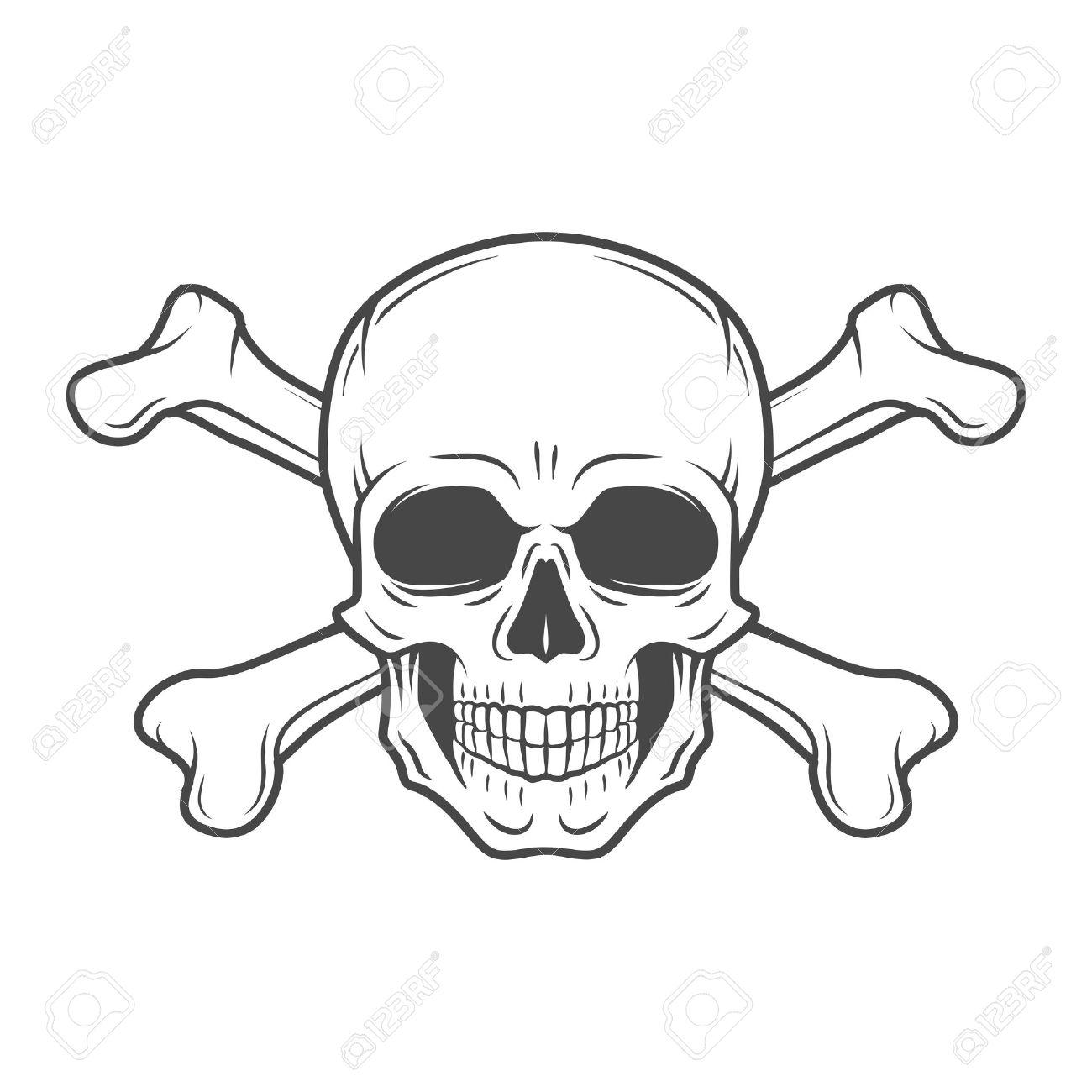 1300x1300 Human Evil Skull Vector. Pirate Insignia Concept Design. Jolly