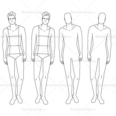 480x480 Male Fashion Croquis Template Illustrator Stuff