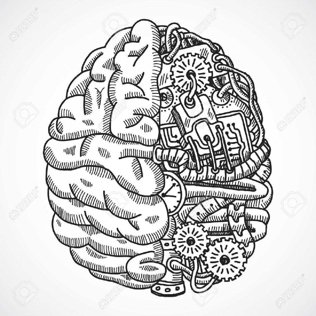 1300x1300 Human Brain As Engineering Processing Machine Sketch Concept