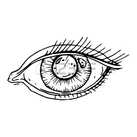 450x450 Graphically Painted Human Eye Isolated On White Background Royalty