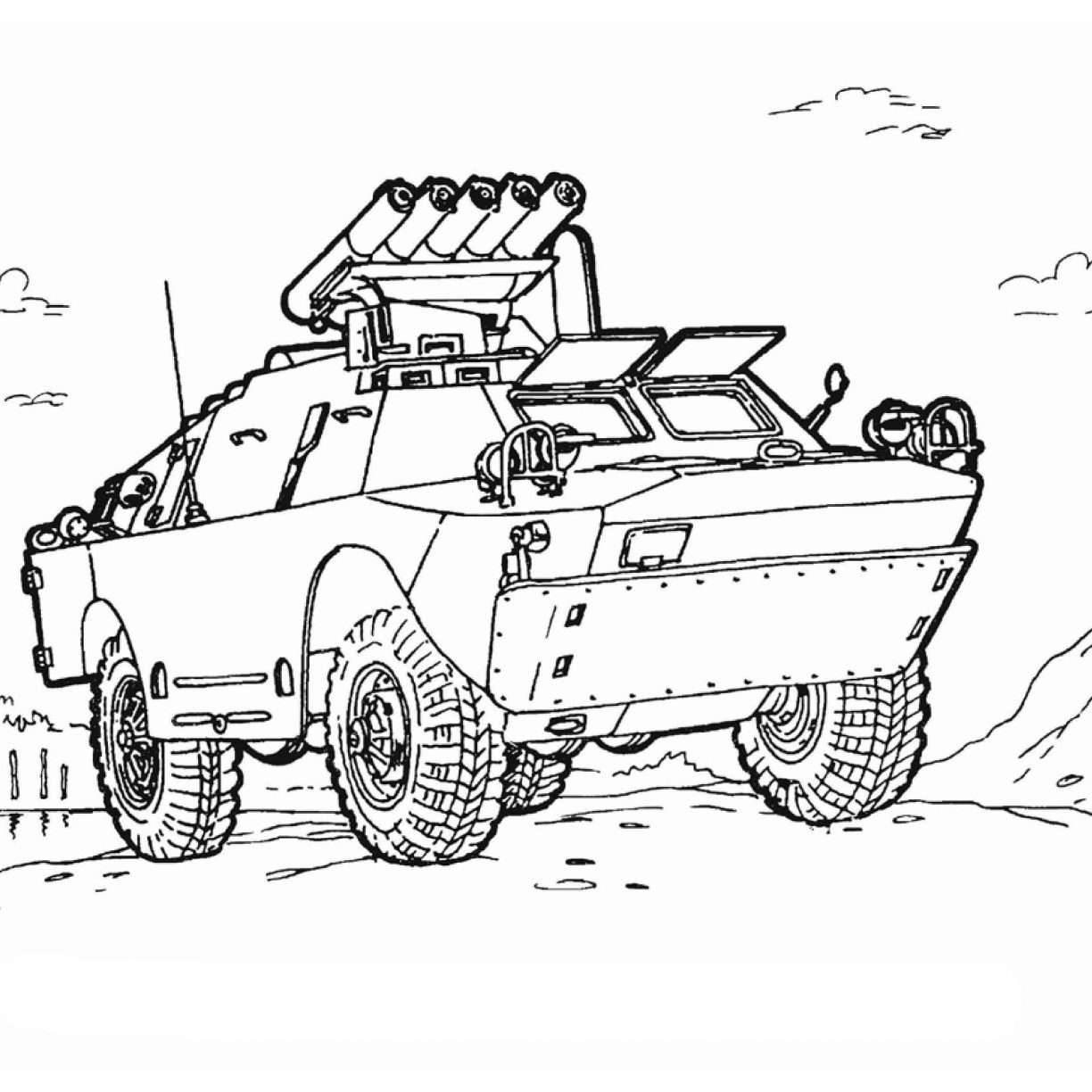 1224x1224 Coloring Pages For Kids Armored Security Vehicle Military Army