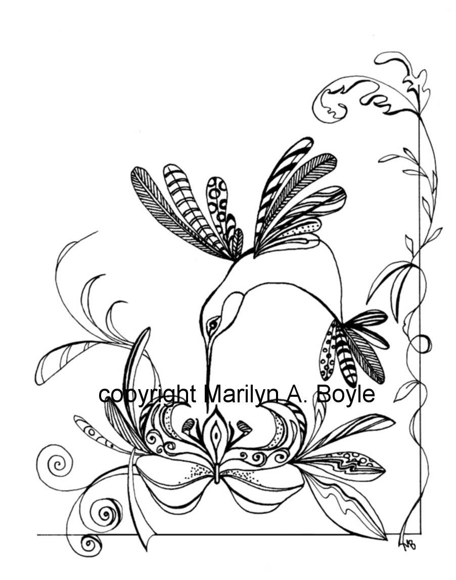 902x1146 Coloring Page Hummingbird Flowers, Zentangle, Nature, Adult