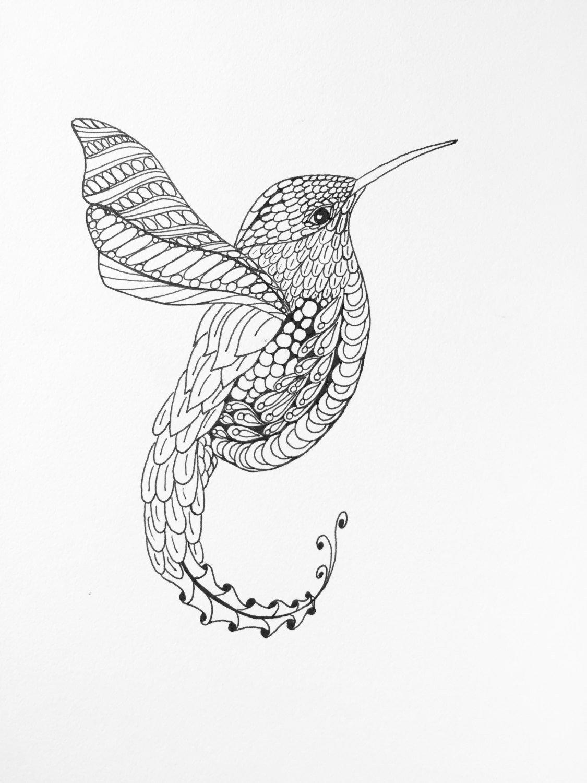 1125x1500 Zentangle Hummingbird, Wall Art, Hummingbird Drawing, Hummingbird