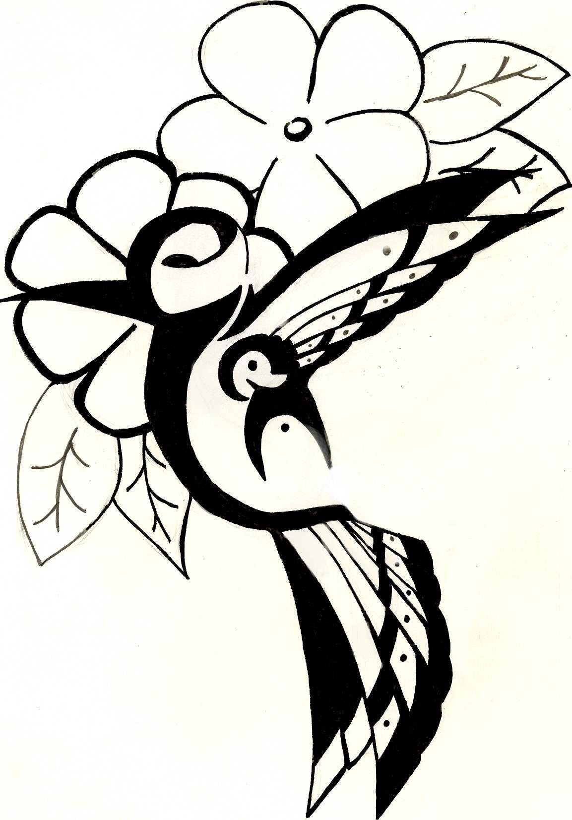 1153x1653 Hummingbird With Flowers By Hanaakari