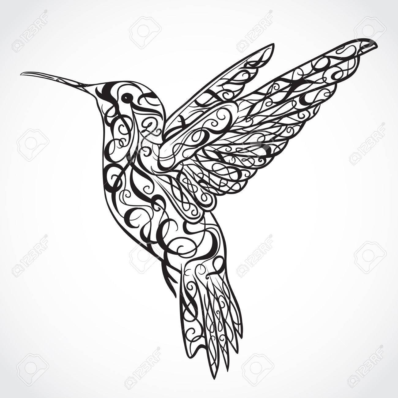 1300x1300 Hummingbird. Tattoo Art. Retro Banner, Invitation, Card, Scrap