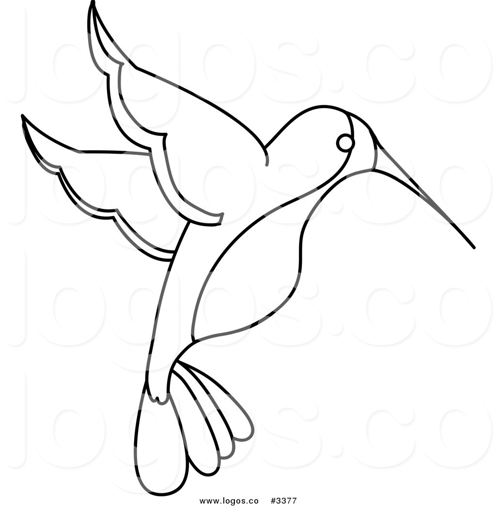 1024x1044 Royalty Free Vector Of A Black And White Outlined Hummingbird Logo