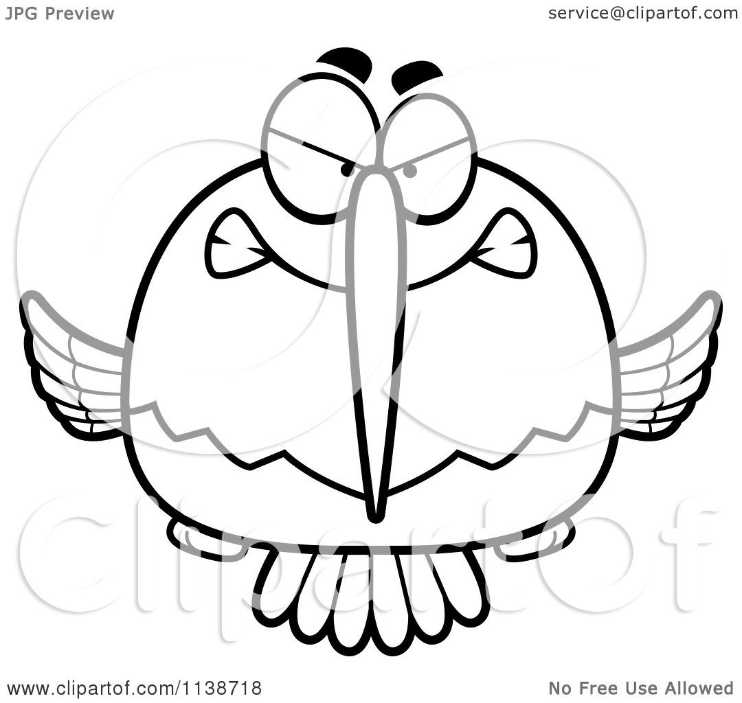 1080x1024 Cartoon Clipart Of A Black And White Mean Angry Hummingbird