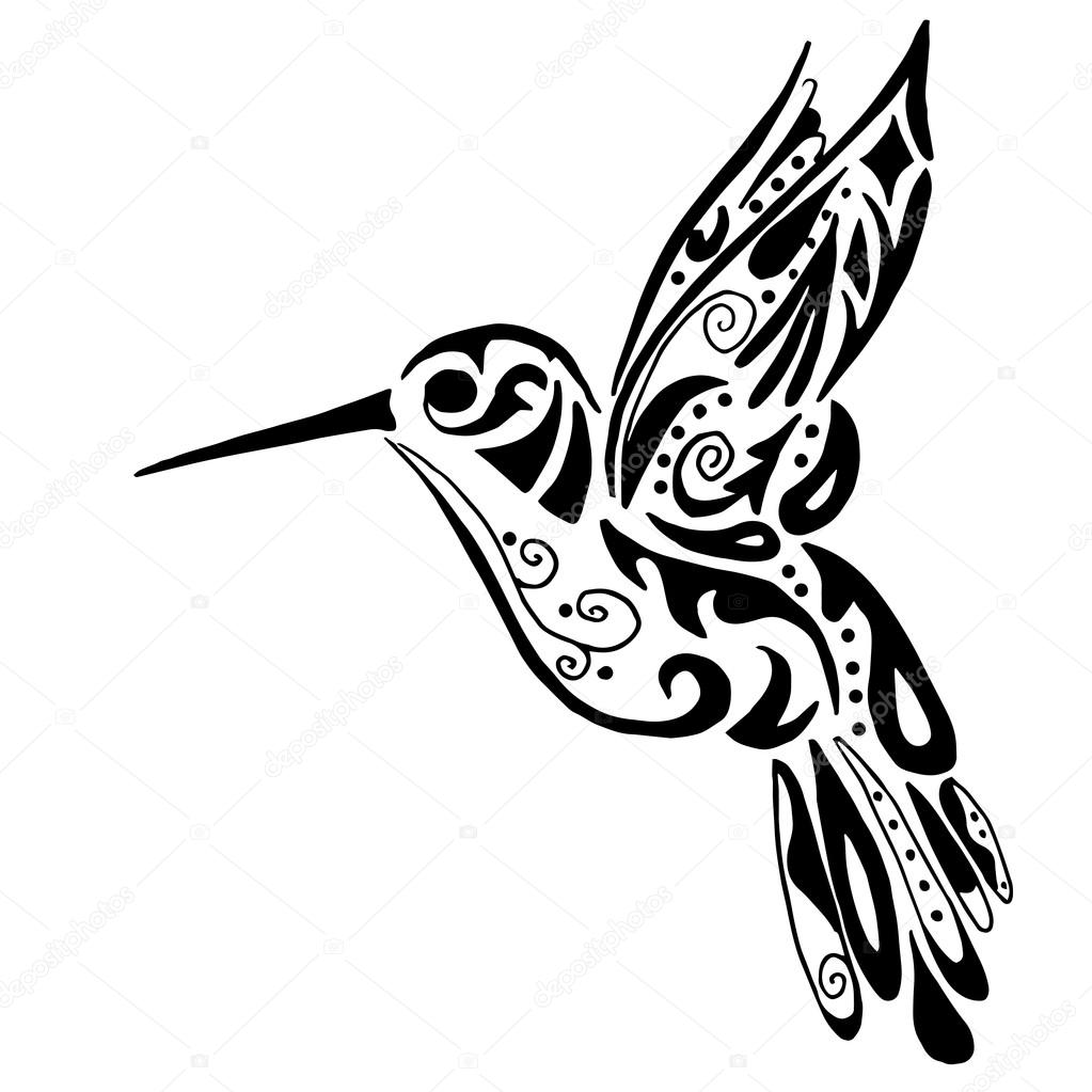 1023x1023 Hummingbird For Coloring Or Tattoo Isolated On White Background