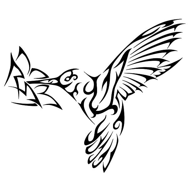 610x610 Tribal Hummingbird Tattoo Design