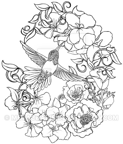 400x471 Hummingbird With Flowers Tattoo By Metacharis