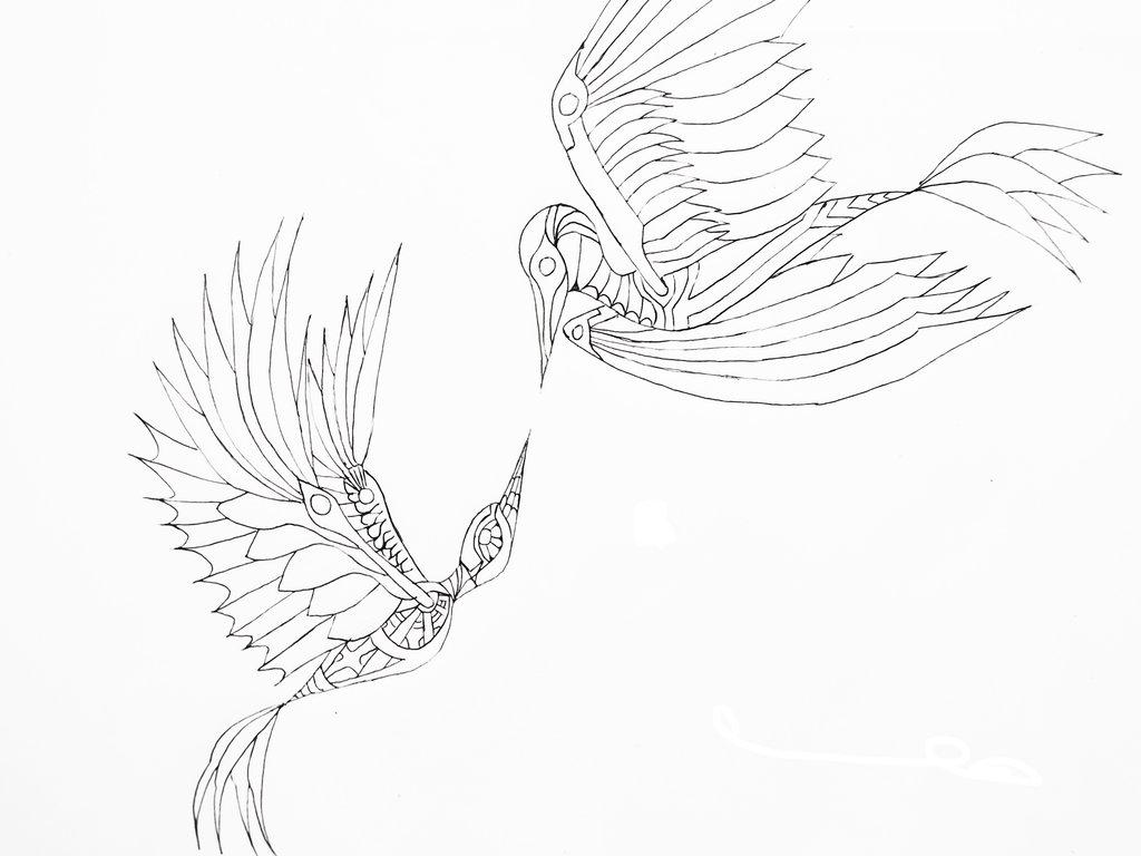 1024x768 Mechanical Hummingbird Lineart By Hevflynia