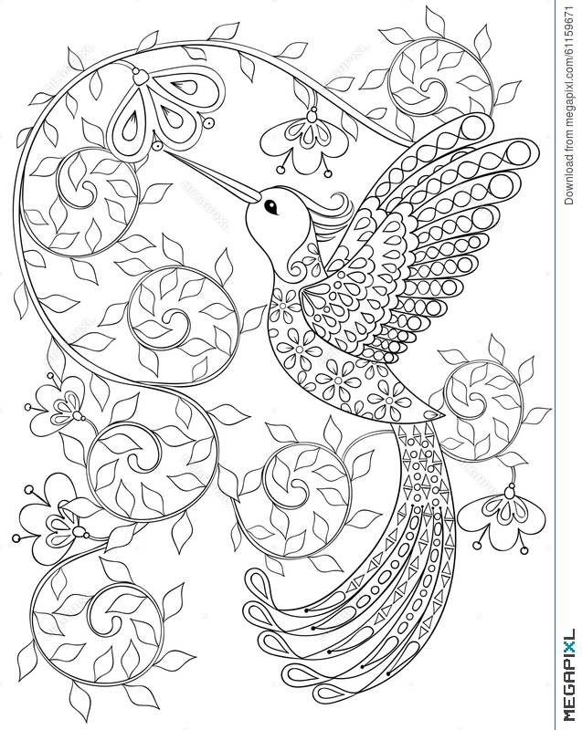 637x800 Coloring Page With Hummingbird, Zentangle Flying Bird For Adult