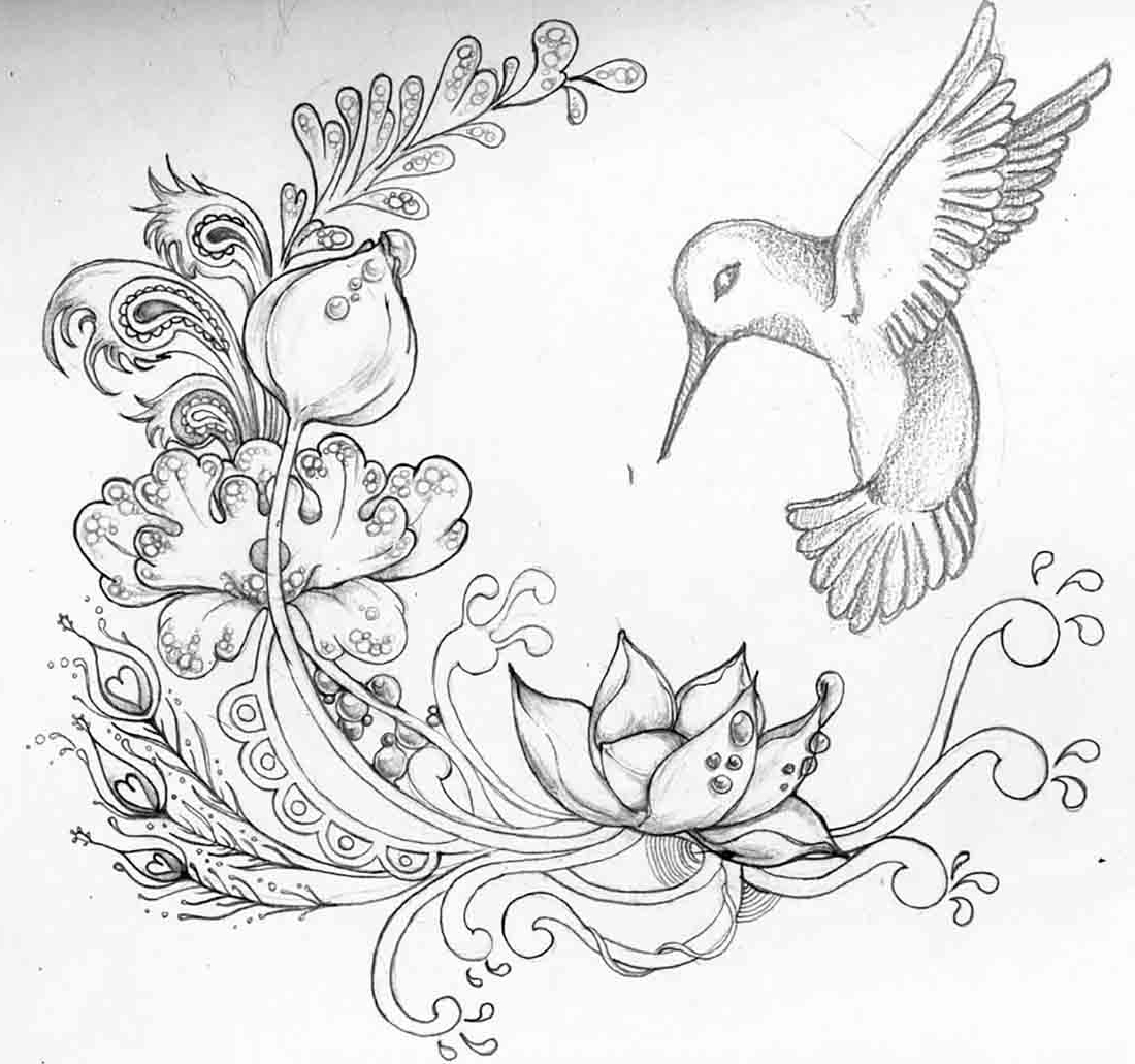 1100x1031 Gallery Pencil Drawings Of Flowers And Birds,