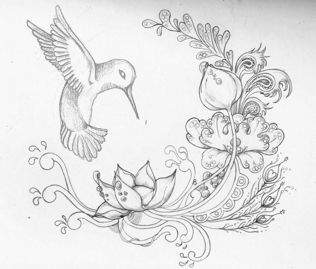 1024x874 Flower And Hummingbird Tattoo Designs Hummingbird And Flower
