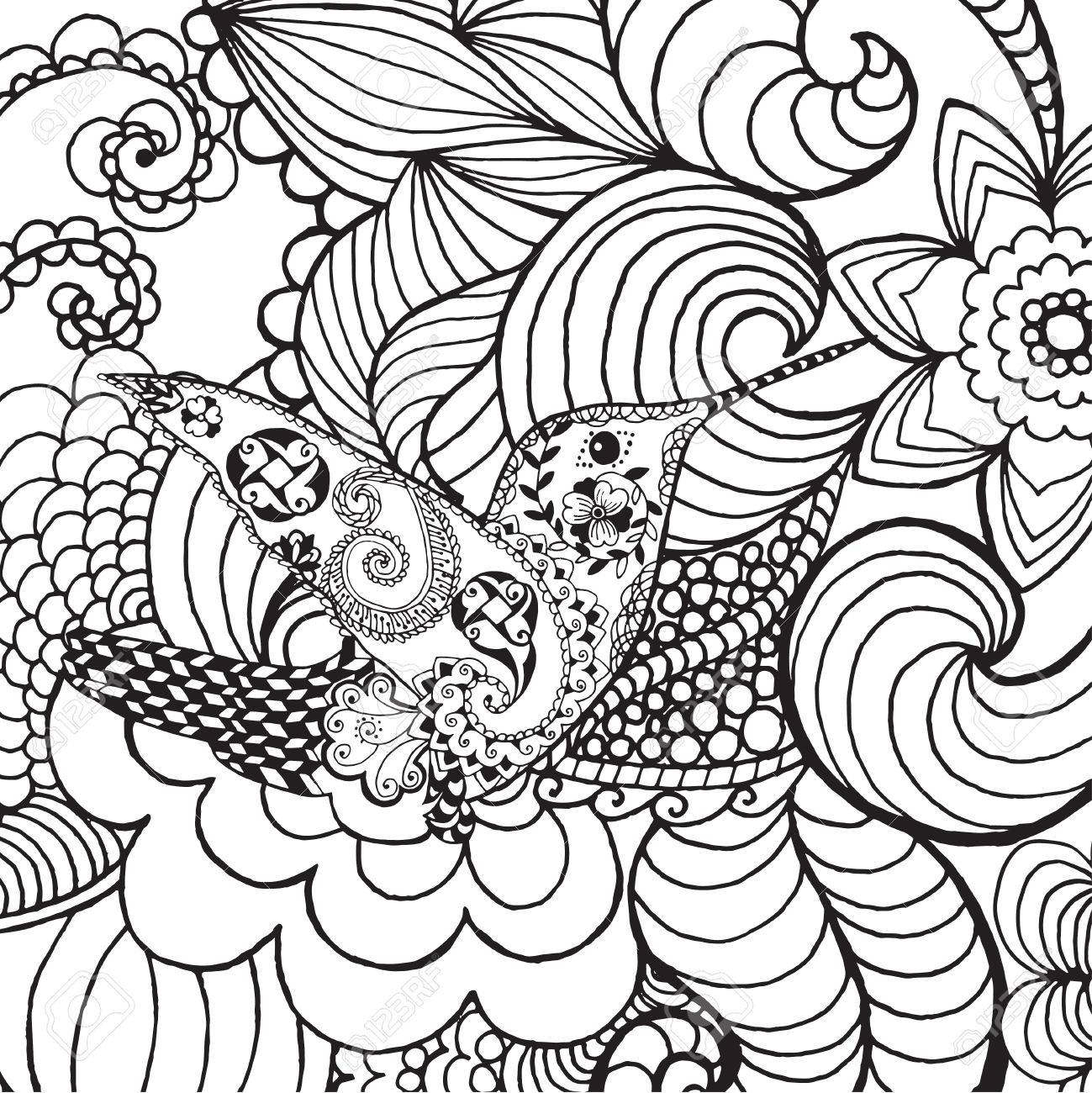 1299x1300 Hummingbird In Fantasy Garden. Animals. Hand Drawn Doodle. Ethnic