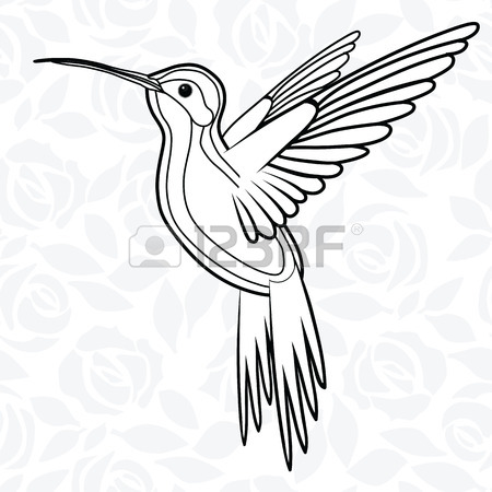 450x450 Hummingbirds Embroidery. Embroidered Bird. Vector Decorative