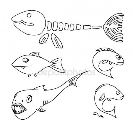 450x431 Humorous Drawing Fish. Stock Vector Grib Nick