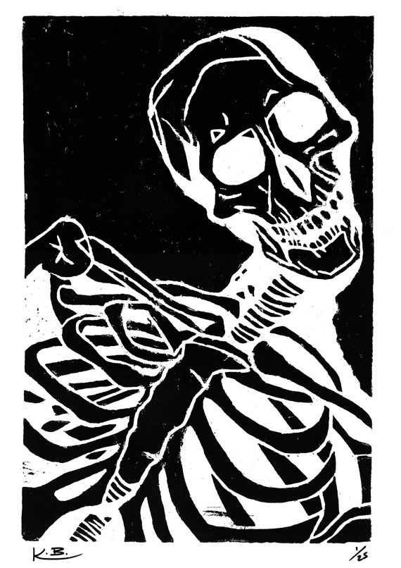 570x806 Human Skeleton Woodcut Print By Kelly Blake. Limited Editon Of 25