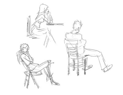 400x309 Very Loose Gesture Drawings Of People Sitting Out Amp About, By My