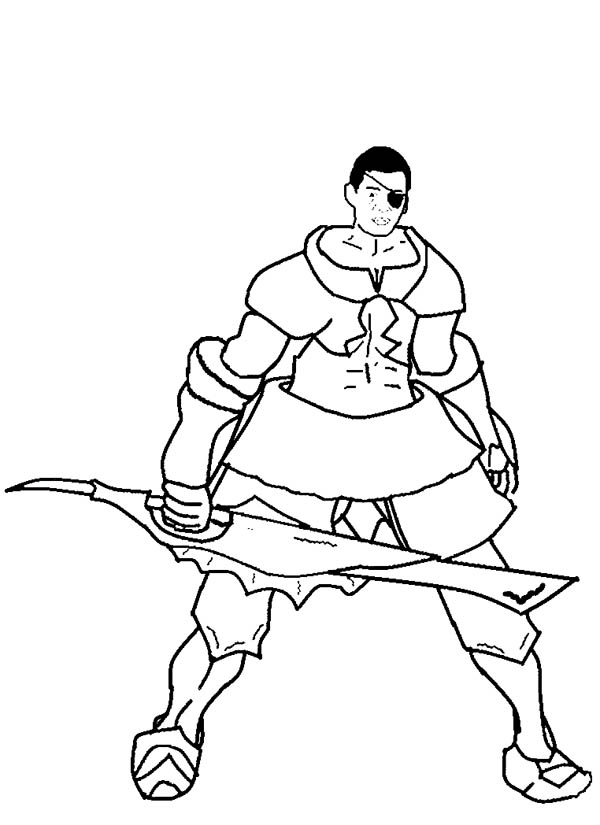 600x825 Drawing A Hunter With Big Sword Coloring Page Coloring Sky