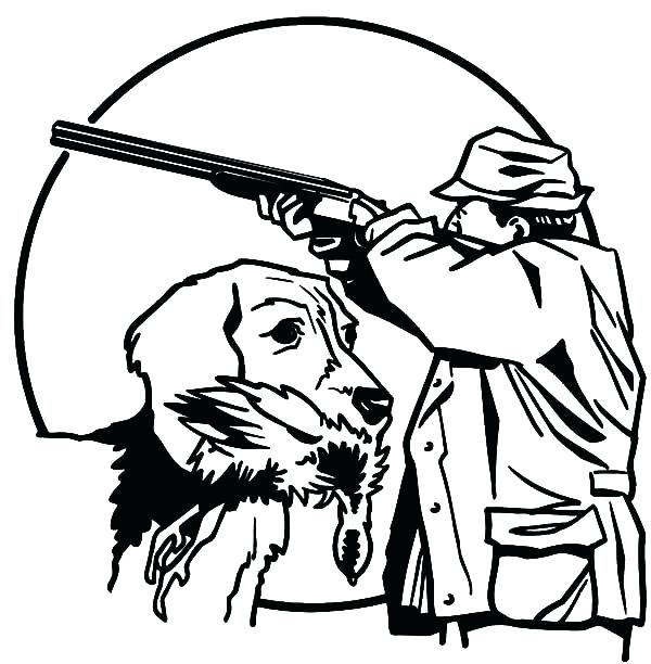 600x612 Gun Coloring Pages Hunting With Trained D On Coloring Sheets