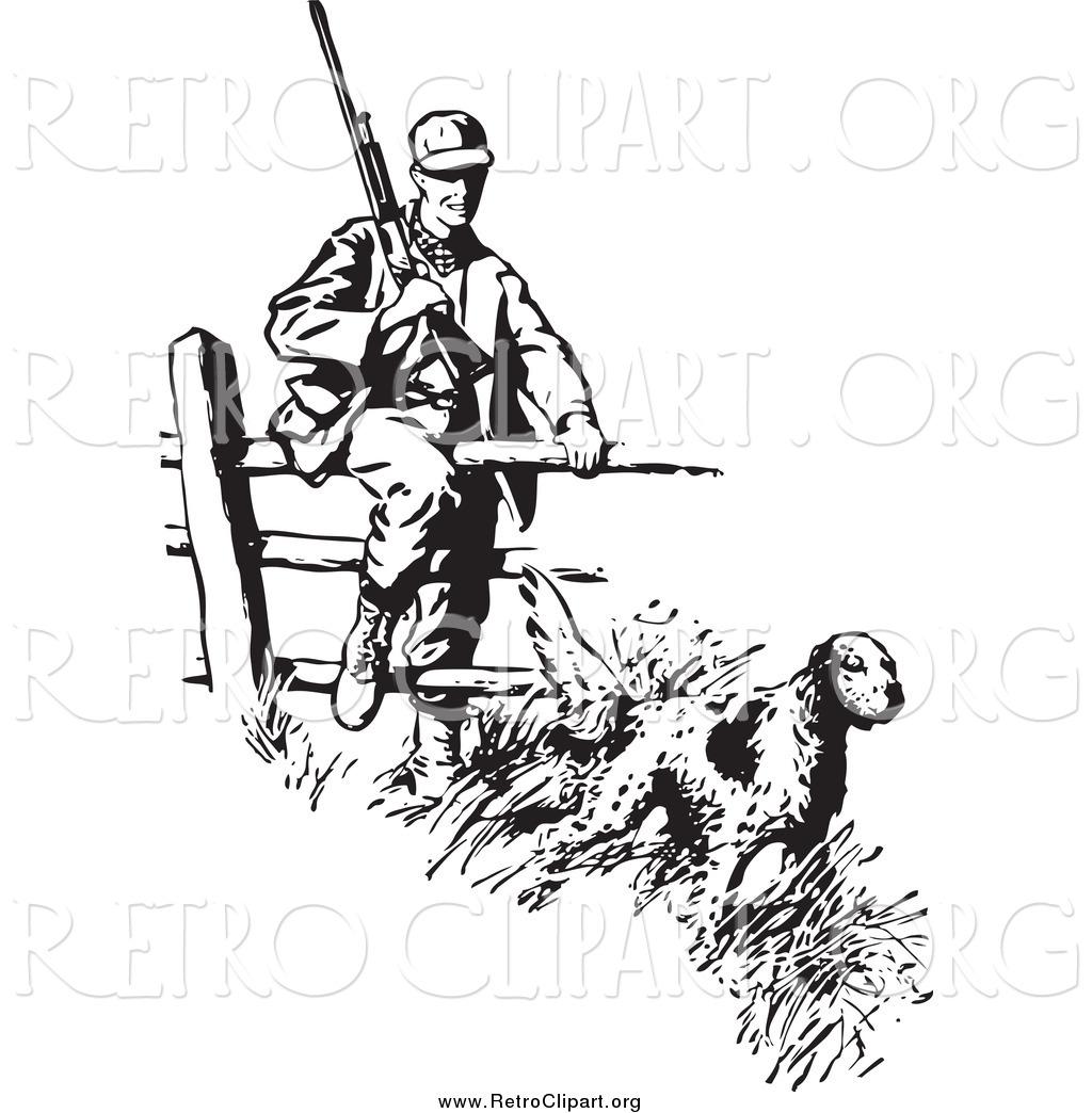 1024x1044 Clipart Of Retro Blacknd White Dog Leading Hunter Over