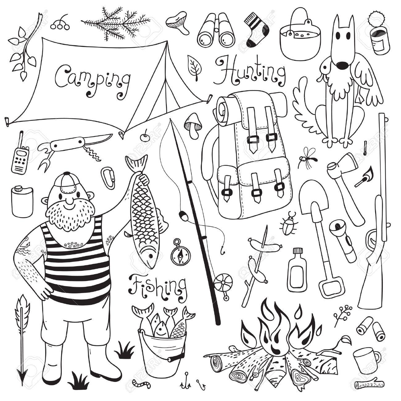 1300x1300 Fishing, Hunting, Camping Set. Hand Drawing Design Elements